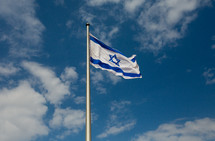 Israeli flag on a flagpole