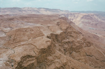 aerial view over a canyon in Israel
