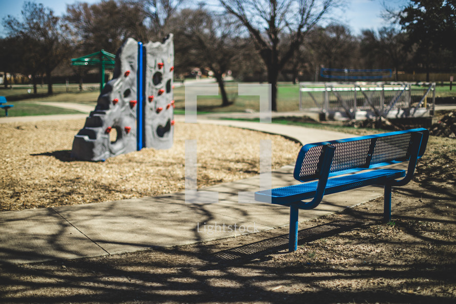 park bench at a playground