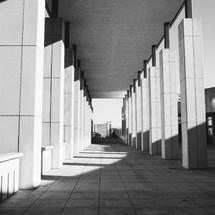 columns along a hallway
