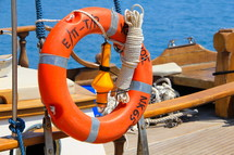 life ring, life ring or lifesaver ring on a Greek fishing boat