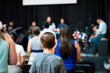 kids during a worship service