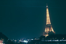 lights at night on Eiffel Tower