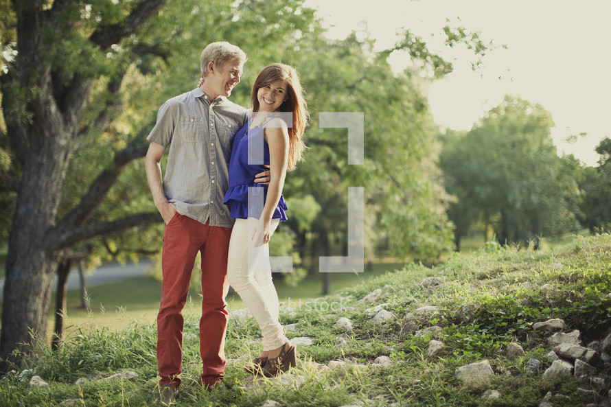 couple in an embrace outdoors
