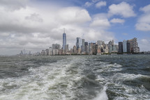 distant New York City skyline from the water