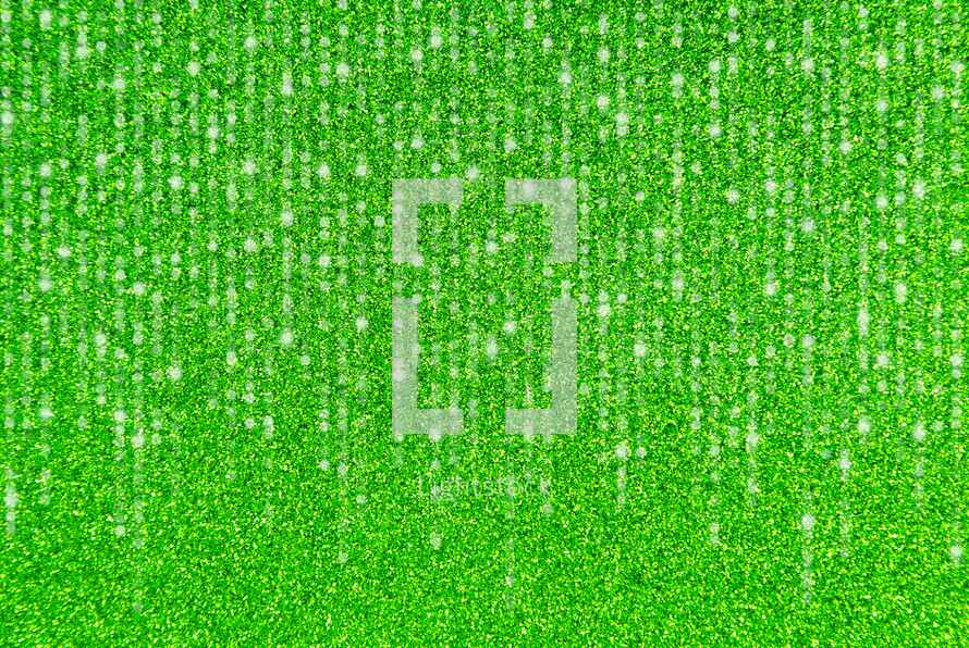 streamers on green Glitter Background