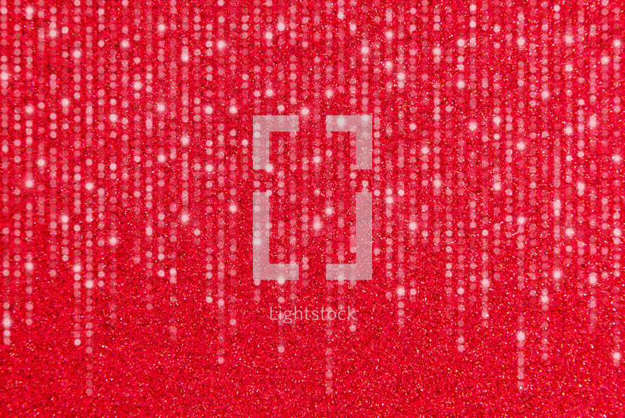 Streamers on red Glitter Background
