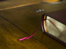 a Bible with a bookmark
