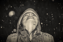a little girl in falling snow