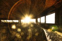 Sun shining through basement windows.
