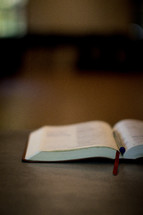 pen between the pages of an open Bible