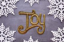 word joy with snowflake border