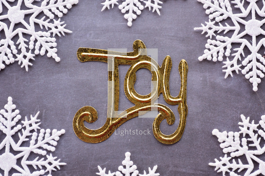 word joy with snowflake border
