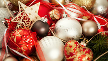 box full of Christmas ornaments