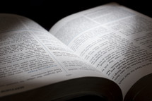 light on the pages of an open Bible