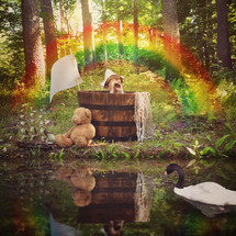 a child in a wooden tub floating on water under a rainbow