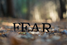 word Fear on ground