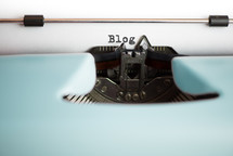 blog, typography, typewriter, blue, print, blogging