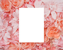 blank paper on pink flowers