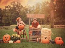 Children at a pumpkin stand