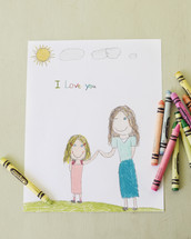 a drawing done by a child for their mother on mother's day