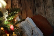 Bible under a decorated Christmas tree