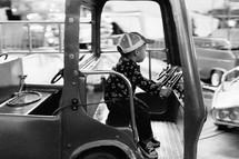 a boy on a ride at the fair