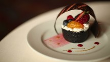 presentation of a fancy dessert