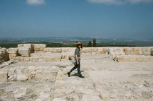 a woman walking on in megiddo also known as  armageddon