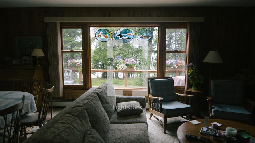 interior of a lake cabin