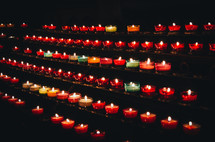 prayer candles in a cathedral
