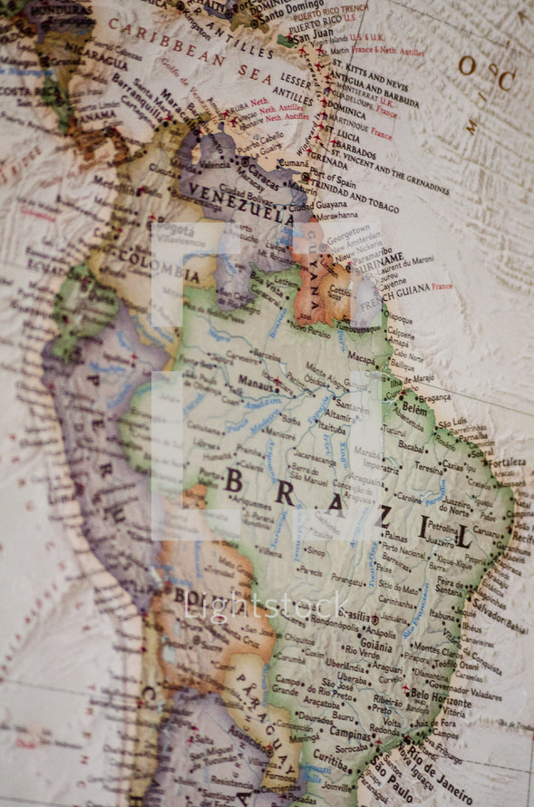 A map of Brazil and South America