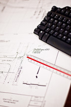 blueprints, keyboard, ruler, scale, construction