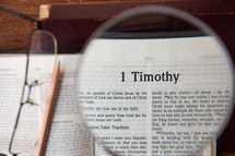 magnifying glass over 1 Timothy