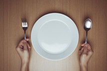 empty plate and silverware
