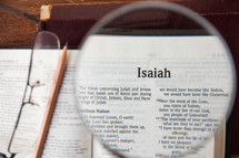 magnifying glass over Isaiah