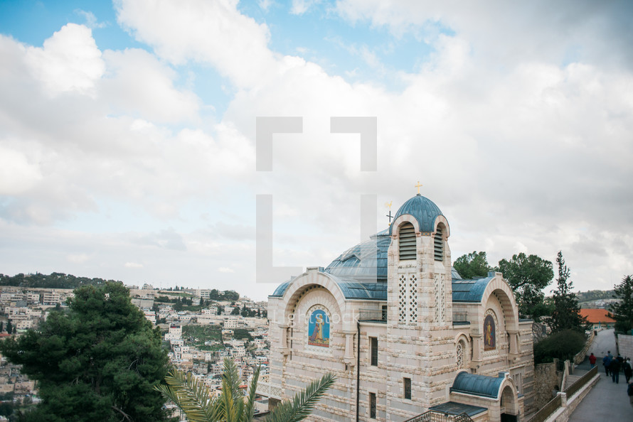 church with a blue roof in the Holy Land