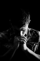 man in prayer to God