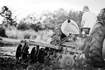 Plowing the field.