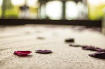 rose petals on a desk