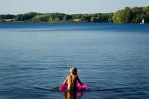 swimming in a lake