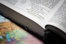 from every tribe and language and people and nation - Bible verse and world map