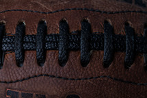 closeup of football laces