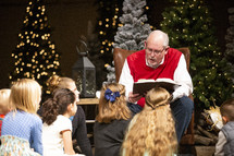 reading Christmas stories to Children