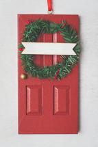 red door Christmas ornament
