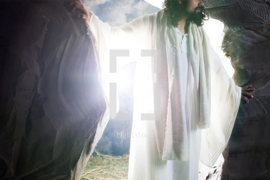 The risen Christ leaving the empty tomb