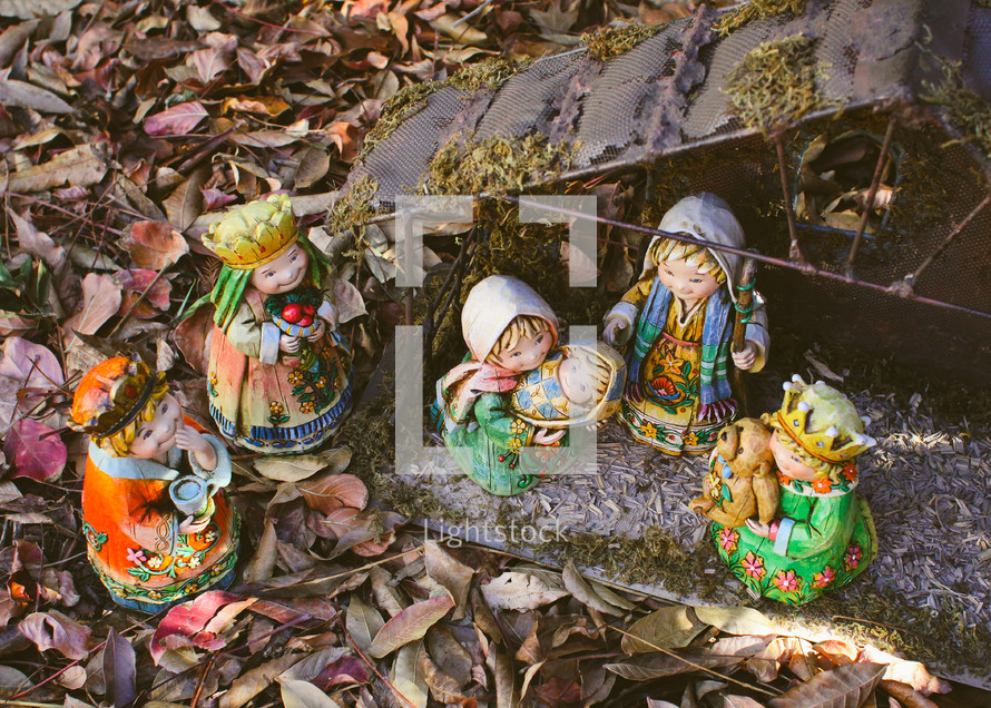 Nativity scene with figurines