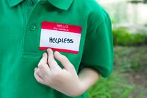 helpless name tag
