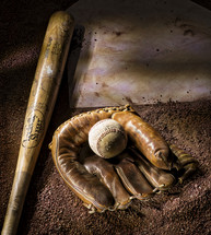 baseball bat, ball, and glove