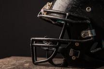 football helmet in a locker room